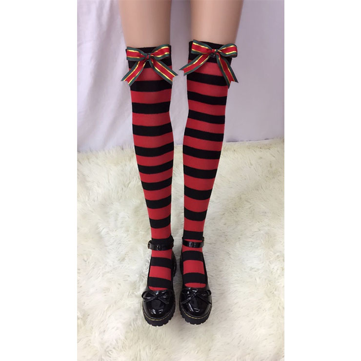 Lovely Red-black Strips with Christmas Color Bowknot Maid Cosplay Stockings HG18521