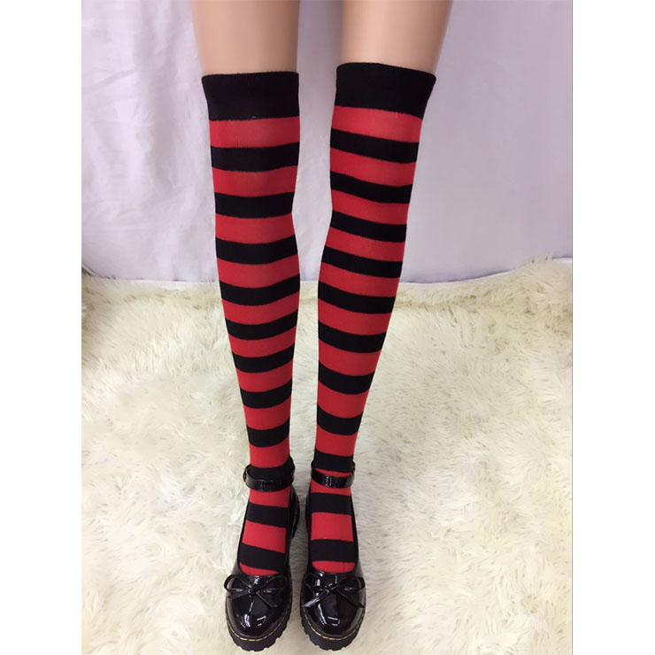 Lovely Red-black Strips Maid Cosplay Stockings HG18516