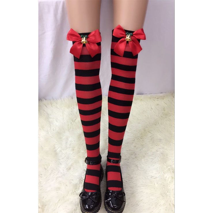 Lovely Red-black Strips with Red Bowknot with Christmas Bell Maid Cosplay Stockings HG18519