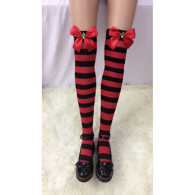 Lovely Red-black Strips with Red Bowknot with Christmas Tree Maid Cosplay Stockings HG18518