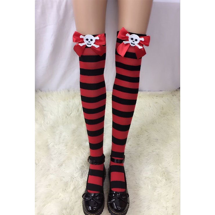 Halloween Red-black Strips Red Bowknot with Skeleton Maid Cosplay Stockings HG18539