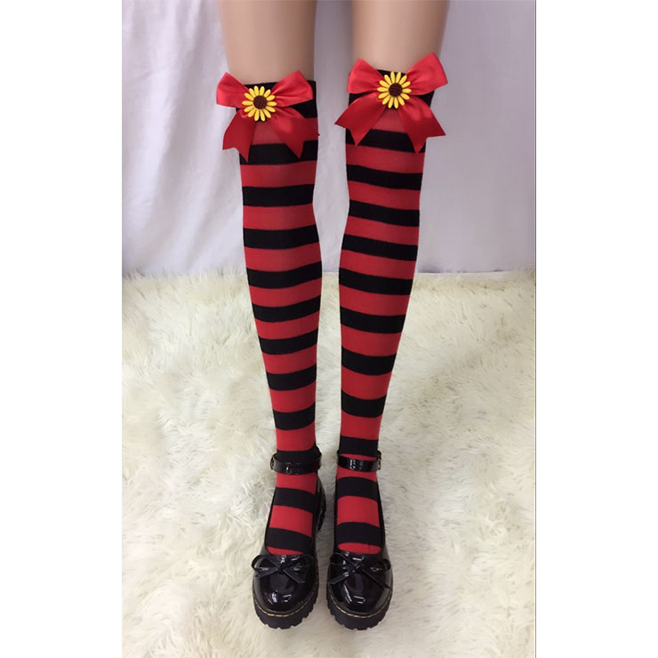 Lovely Red-black Strips Red Bowknot with Sunflower Maid Cosplay Stockings HG18535