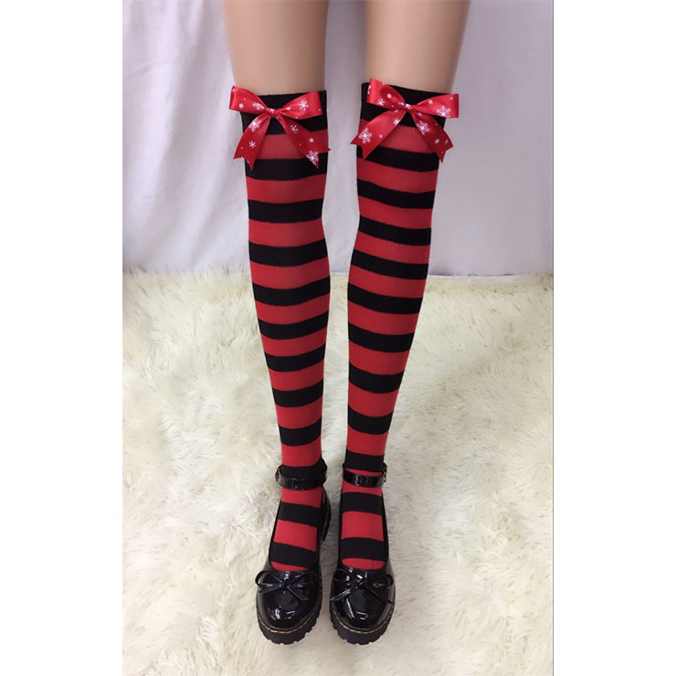 Lovely Red-black Strips with Red Snowflake Printed Bowknot Maid Cosplay Stockings HG18517