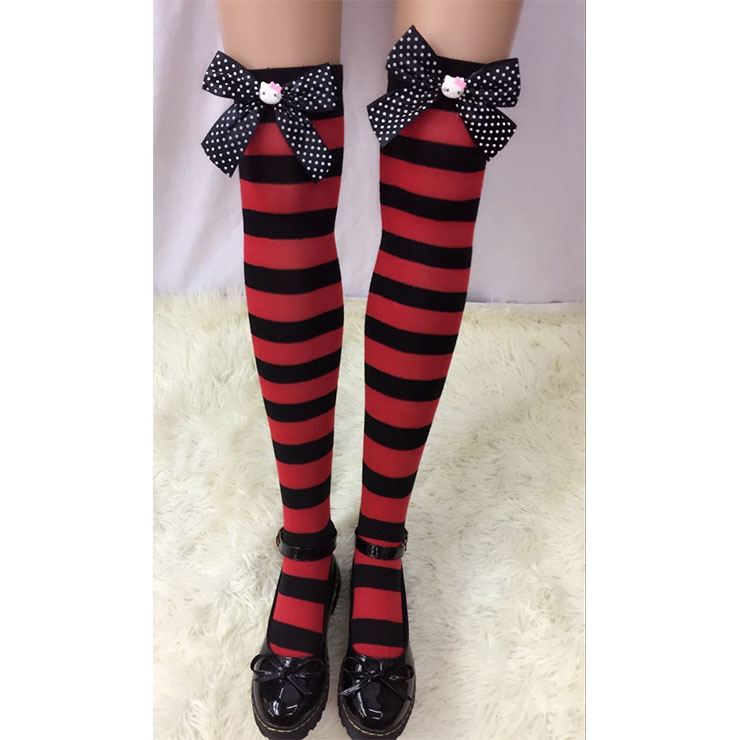 Lovely Red-black Strips Spots Bowknot with Cartton Cat Maid Cosplay Stockings HG18538