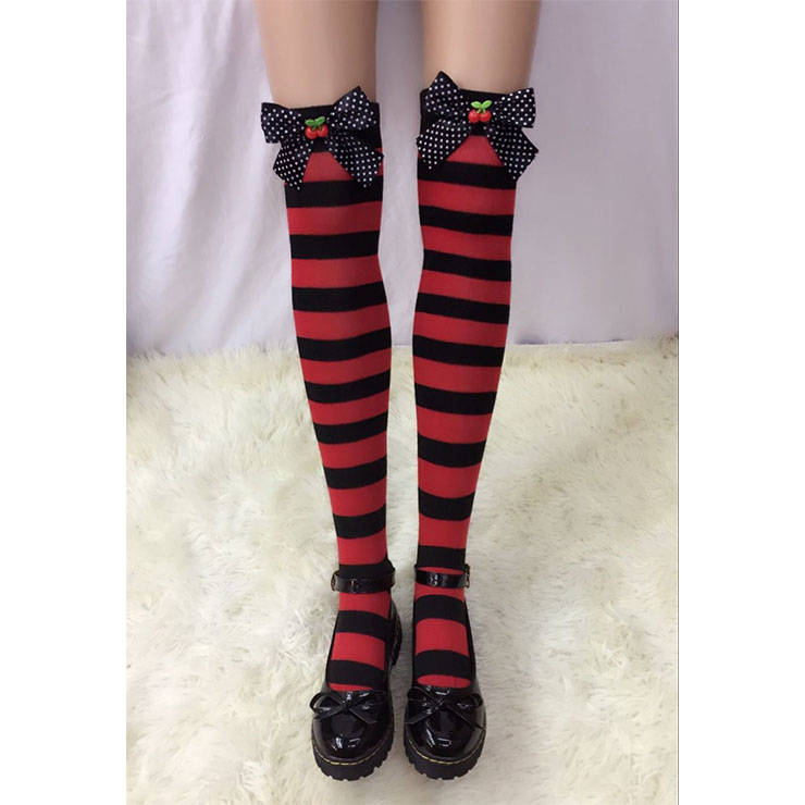 Lovely Red-black Strips Spots Bowknot with Cherry Maid Cosplay Stockings HG18537