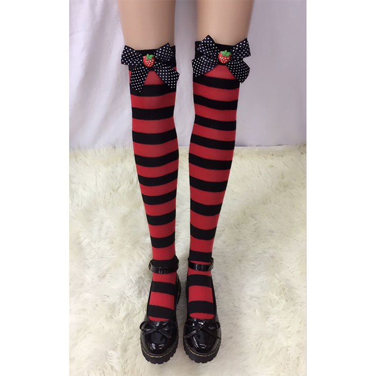 Lovely Red-black Strips Spots Bowknot with Strawberry Maid Cosplay Stockings HG18536