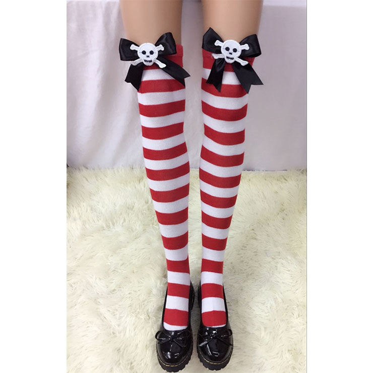 Lovely Red-white Strips Black Bowknot  with Skeleton Cosplay Stockings HG18506
