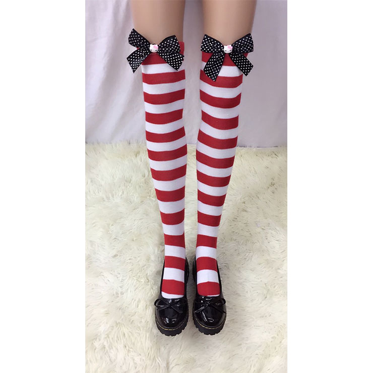 Lovely Red-white Strips Spots Bowknot  with Cartton Cat Cosplay Stockings HG18509