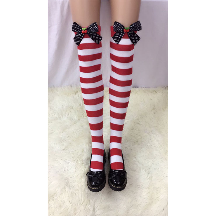 Lovely Red-white Strips Spots Bowknot  with Cherry Cosplay Stockings HG18507