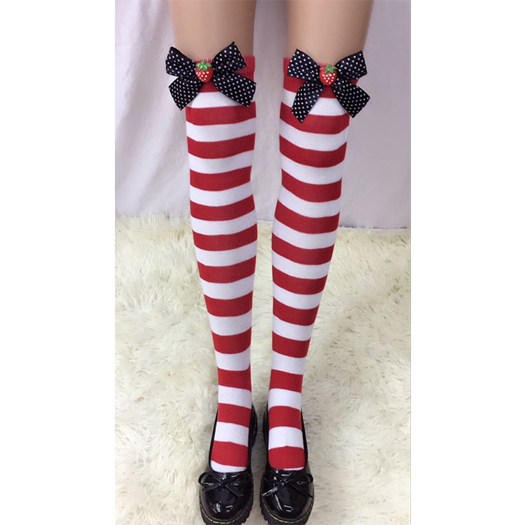 Lovely Red-white Strips Spots Bowknot  with Strawberry Cosplay Stockings HG18508