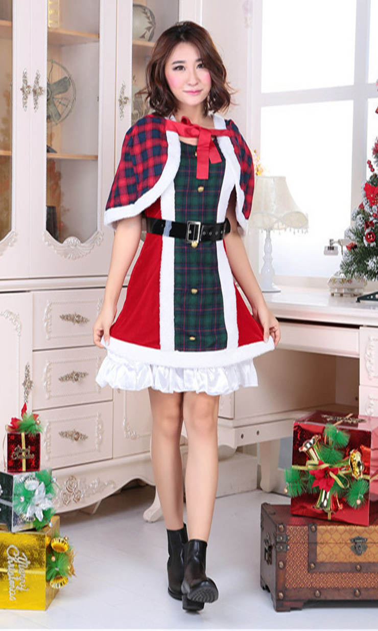 lovely red and green plaid christmas dress with cape xt10908 - Plaid Christmas Dress