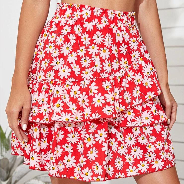 Daily Casual Mini Skirt, Beach Short Skirt, Cute Ruffle Hemline Skirt, Daisy Print Multi-layered Skirt, Girl