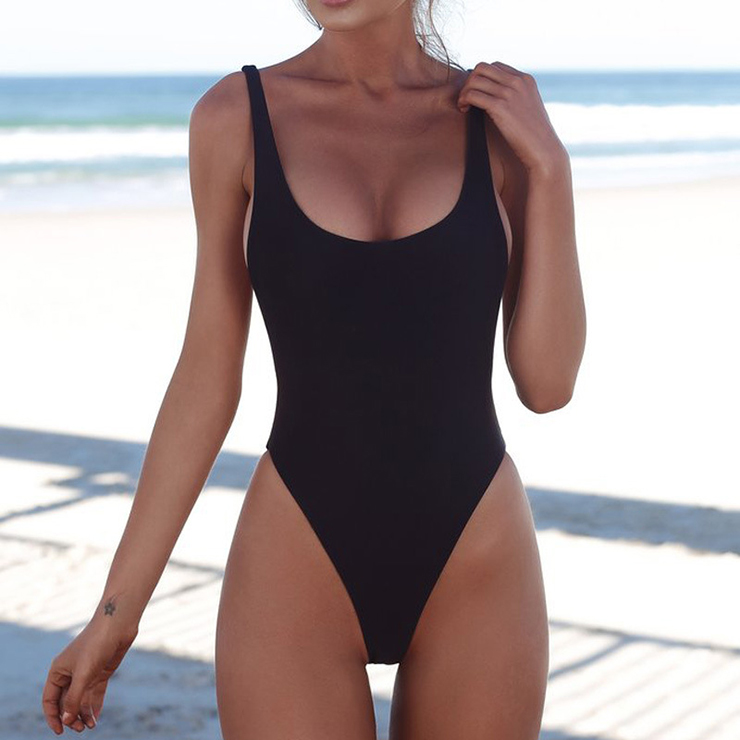Sexy Adjustable Straps Low Cut Backless One-piece Swimsuit BK17956