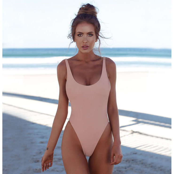 Sexy Pink Adjustable Straps Low Cut Backless One-piece Swimsuit BK17958