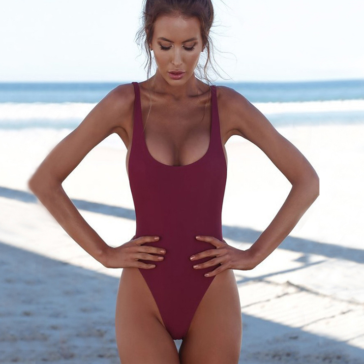Sexy Red Adjustable Straps Low Cut Backless One-piece Swimsuit BK17959