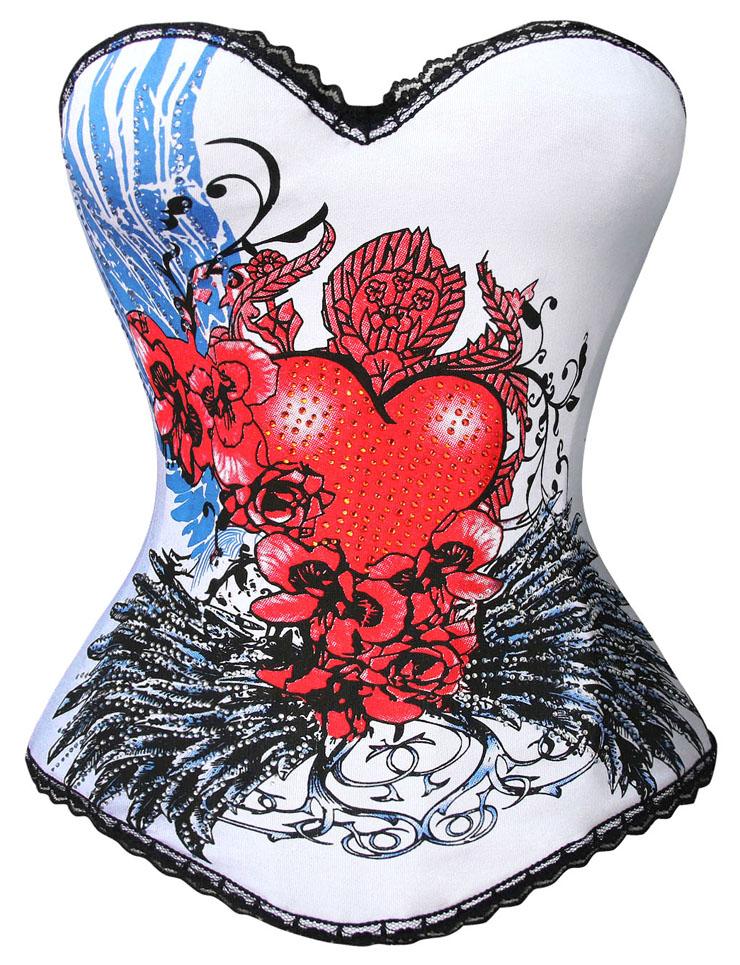 Magic Printed Rhinestone Corset, White and Black Overbust Corset, Heart and Floral Print Overbust Corset, Elastic Body Shaper Corset, #N5176