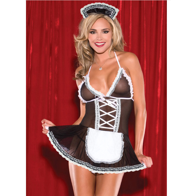Hot Sexy Black Maid Babydoll Lingerie French Maid Cosplay Costume Set N16625