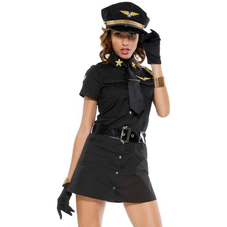 Sexy Pilot Girl Costume Black N6314