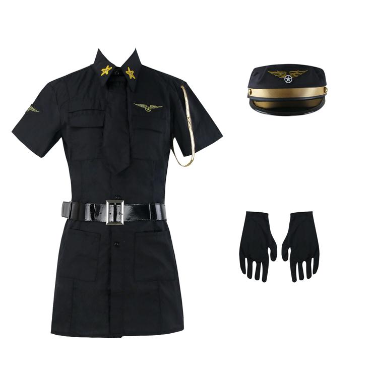 Sexy Pilot Girl Costume Black, Mile High Pilot Sheila B Bangin Costume, Mile High Pilot Costume, #N6314