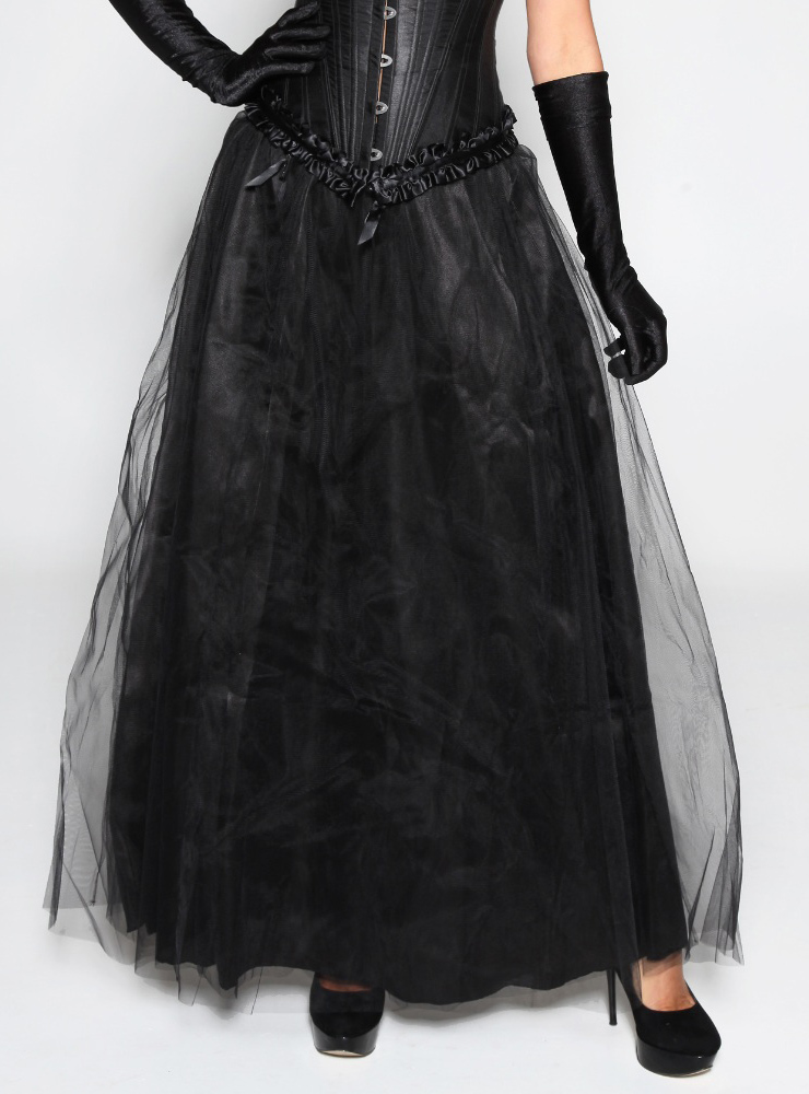 Chiffon Long Skirt, Tulle Maxi Long Skirts, Black Maxi Long Skirt, #HG7979