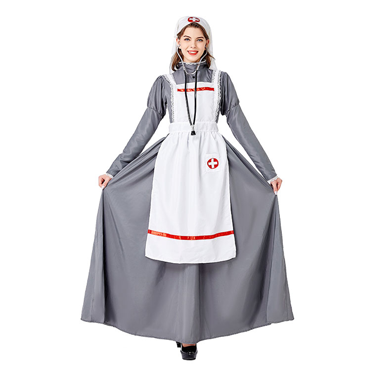 3pcs Medieval Medical Staff Long Dress Nurse Outfit Adult Cosplay Party Costume N20737