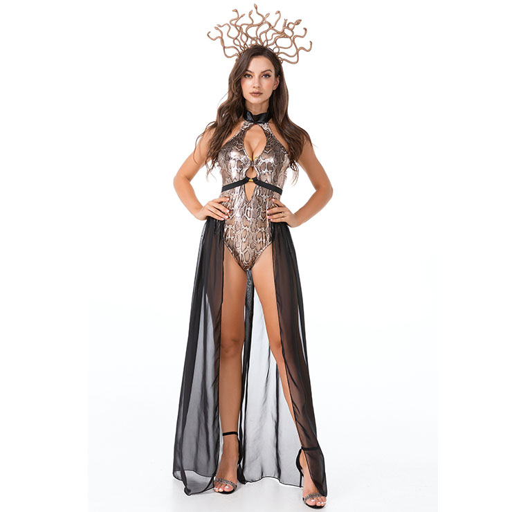Sexy Medusa Evil Snake Greek Mythology Goddess Adult Bodysuit Halloween Cosplay Costume N21445