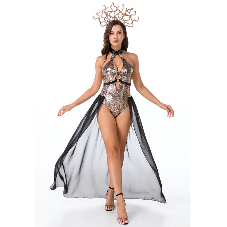 Hot Sale Halloween Costume, Black Halter Neck Costume, Cosplay Adult Halloween Costume, Women
