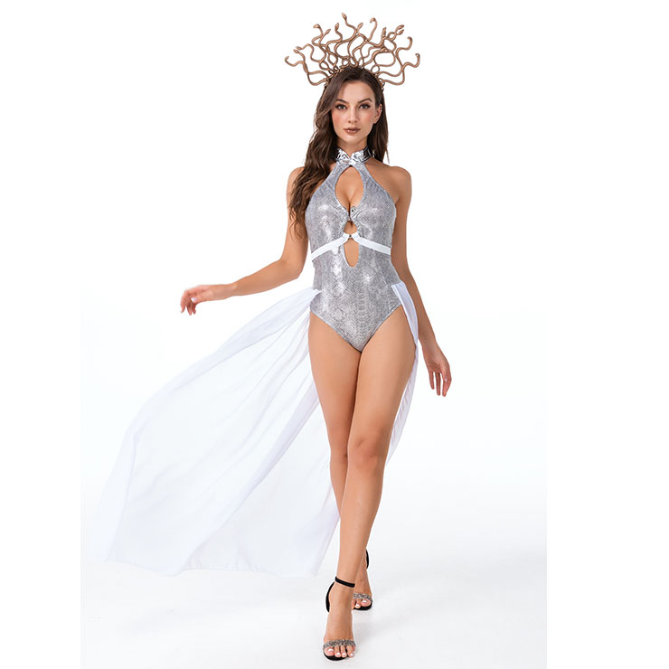 Sexy Medusa Evil Snake Greek Mythology Goddess Adult Bodysuit Halloween Cosplay Costume N21446
