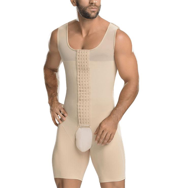 Men's Apricot Eye & Hook Closure Shapewear Body Shaper Bodysuit for Sport N18881