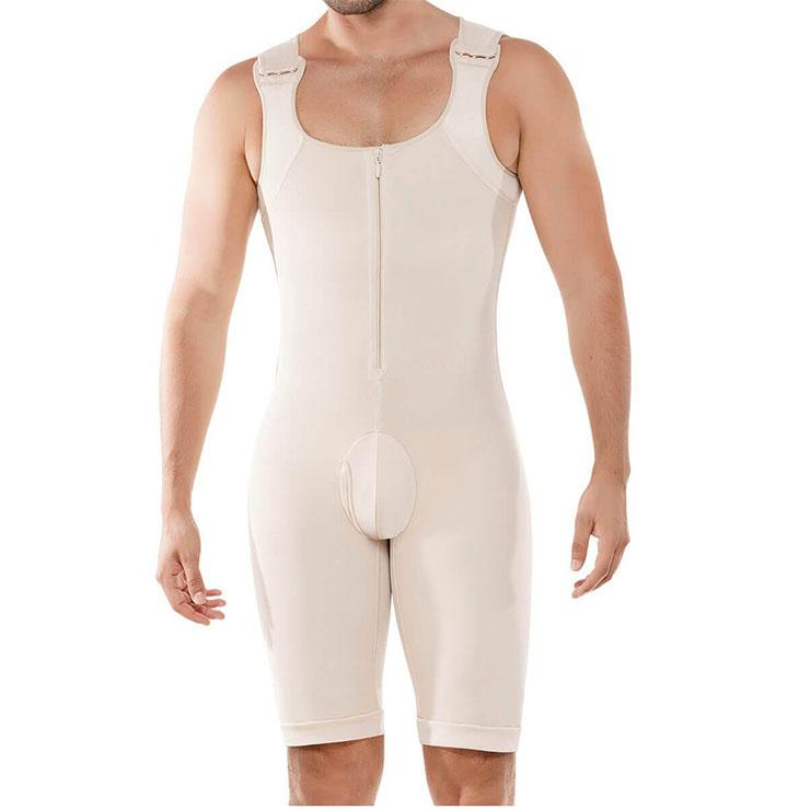 Men's Apricot Zipper Closure Shapewear Body Shaper Bodysuit for Sport N18883