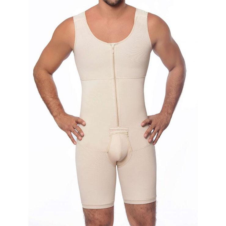 Men's Apricot Zipper Closure Jockstrap Shapewear Body Shaper Bodysuit for Sport N18885
