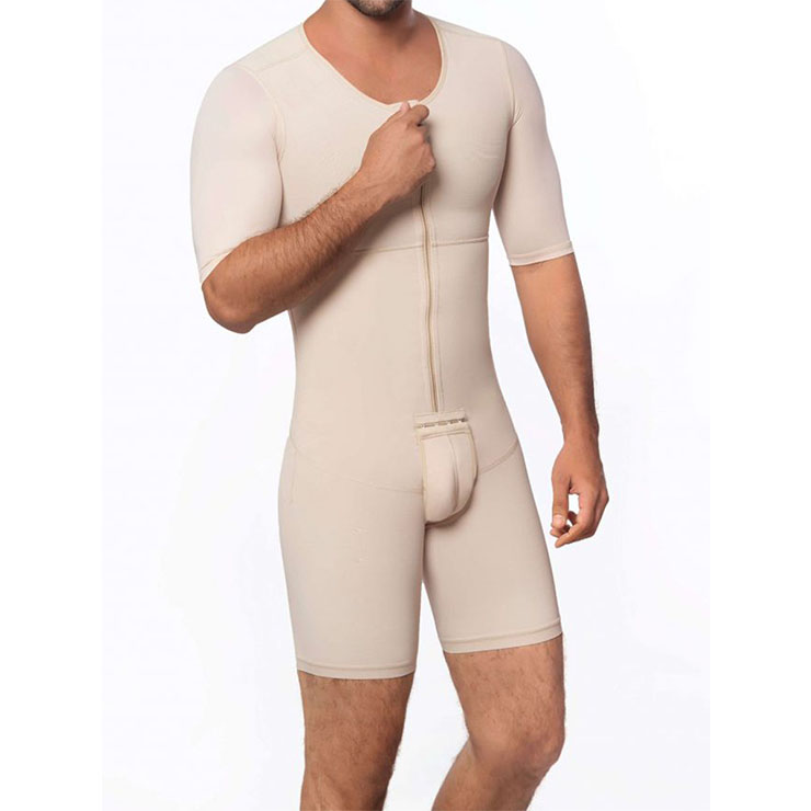 Men's Apricot  Zipper Closure Round Neckline Short Sleeves Shapewear Body Shaper Bodysuit for Sport N18887
