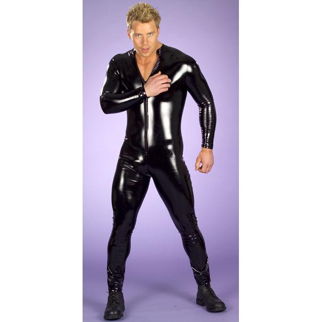 Men's Black Wet Look Patent Leather Jumpsuit N4664