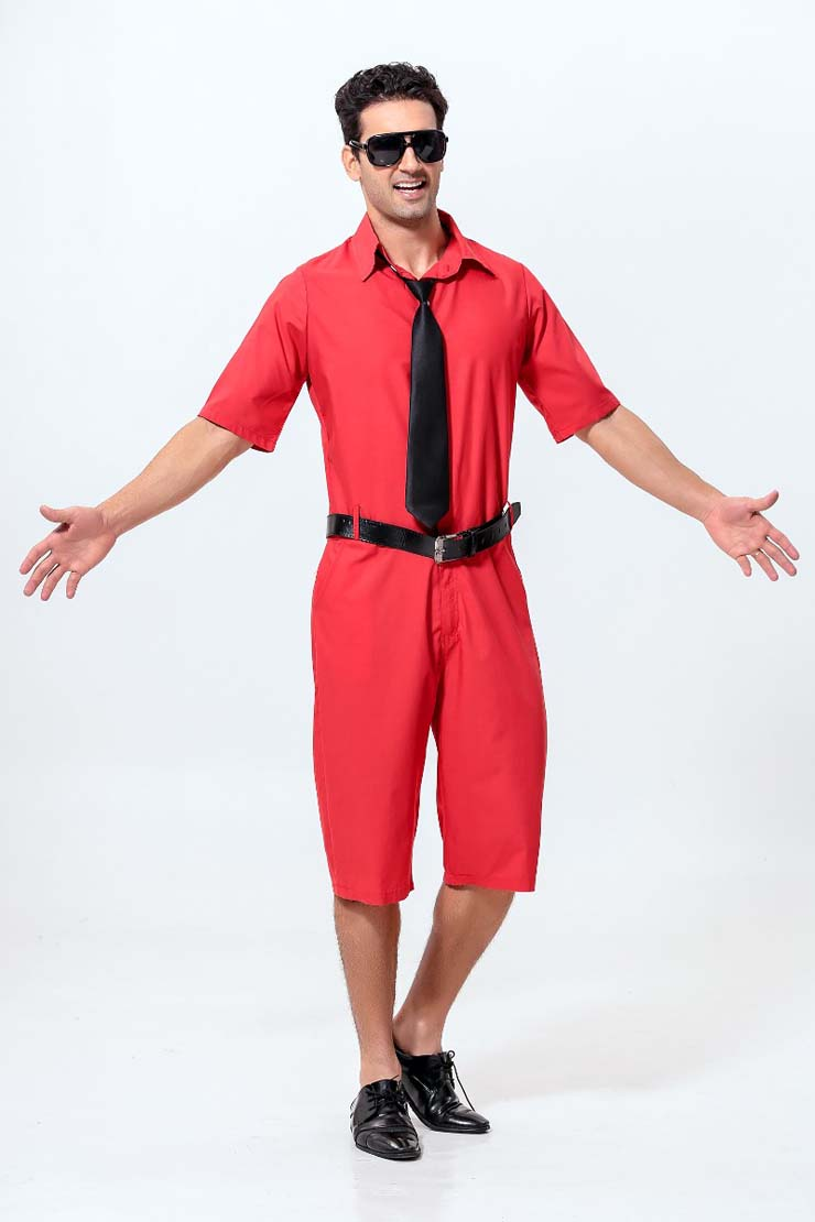 Men's Red Short Sleeves Jumpsuit Suit with Tie and Belt N10928