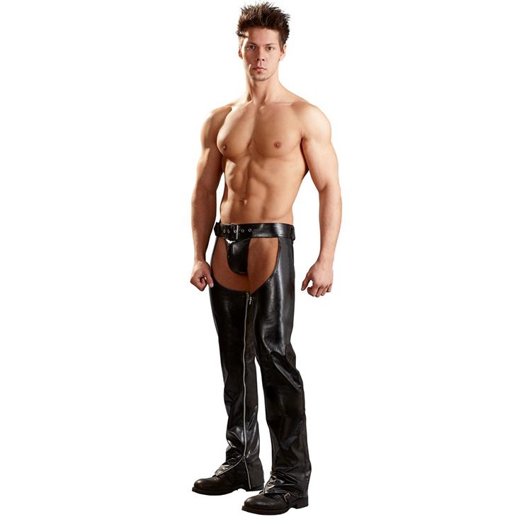 Men's Sexy Black Open Hip Pants Trousers N14165
