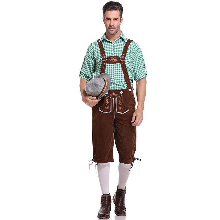 Men's Deluxe Suspenders and Gingham Shirt Bavarian Oktoberfest Lederhosen Costume N19870