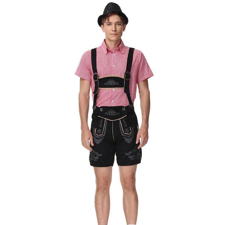 3pcs Men's Deluxe Suspenders and Gingham Shirt Bavarian Oktoberfest Lederhosen Costume N21516