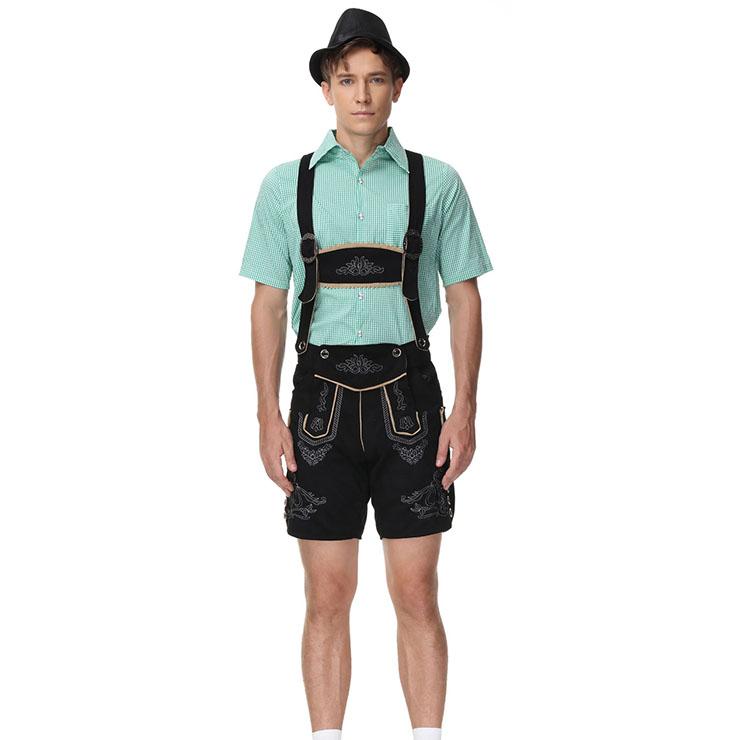 3pcs Men's Deluxe Suspenders and Gingham Shirt Bavarian Oktoberfest Lederhosen Costume N21518