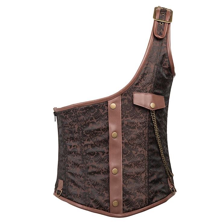 Mens Gothic Brown Brocade One-shoulder Waistcoat Corset N15282