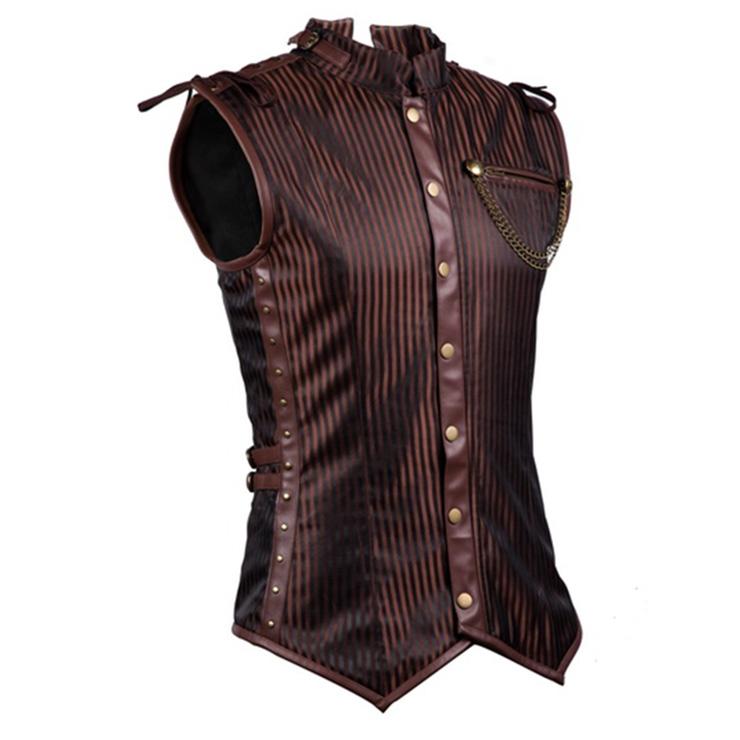 Mens Steampunk Faux Brown Overchest Waistcoat Corset N11367