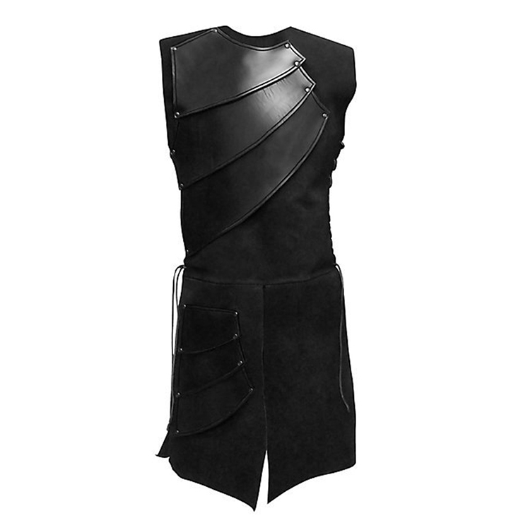 Men's Sexy Black Steampunk PU Leather Armour One-piece Long Gown Tunic Costume N19044