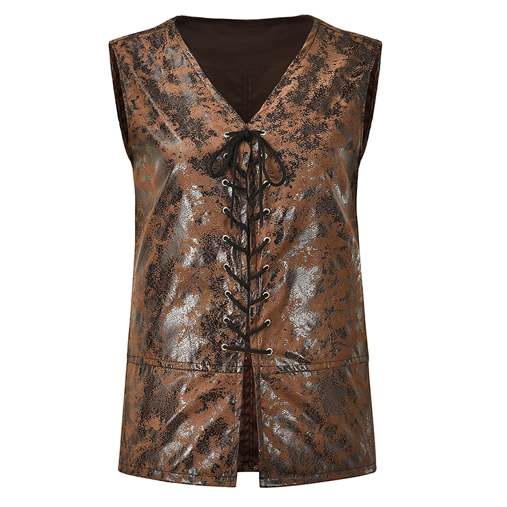Mens Steampunk Distressed Brown Faux Leather Waistcoat N18522