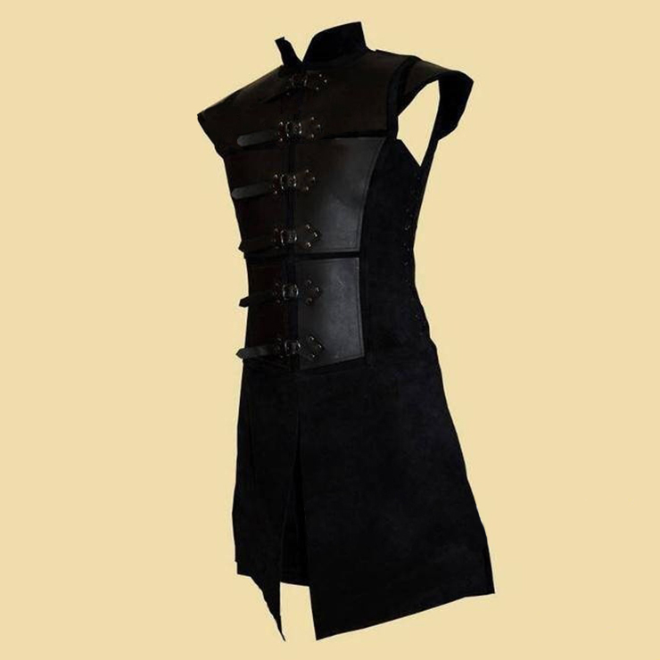 Men's Steampunk Knight PU Leather Armour High Collar Buckles One-piece Gown Tunic Costume N19968