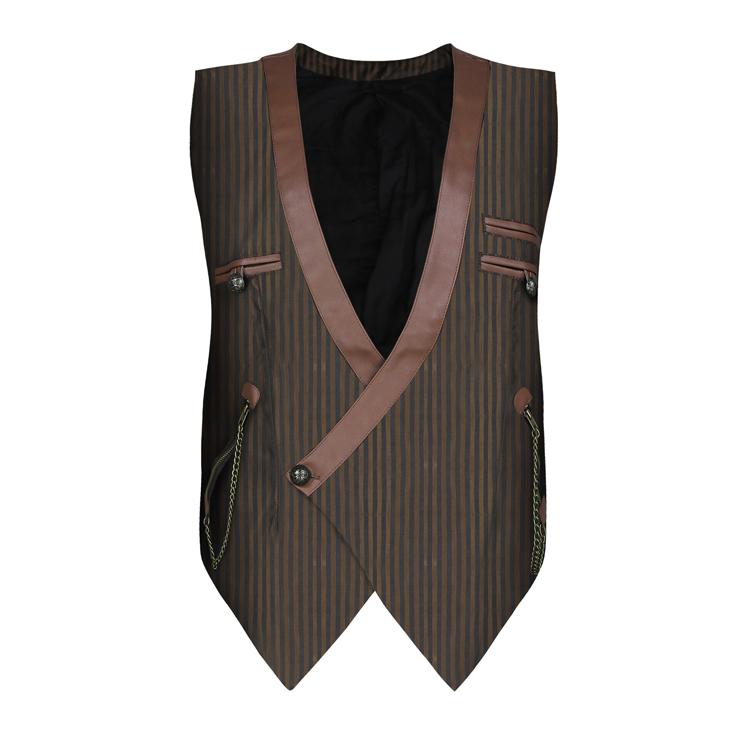 Mens Steampunk Pinstripe Waistcoat V Neck Party Vest N19046