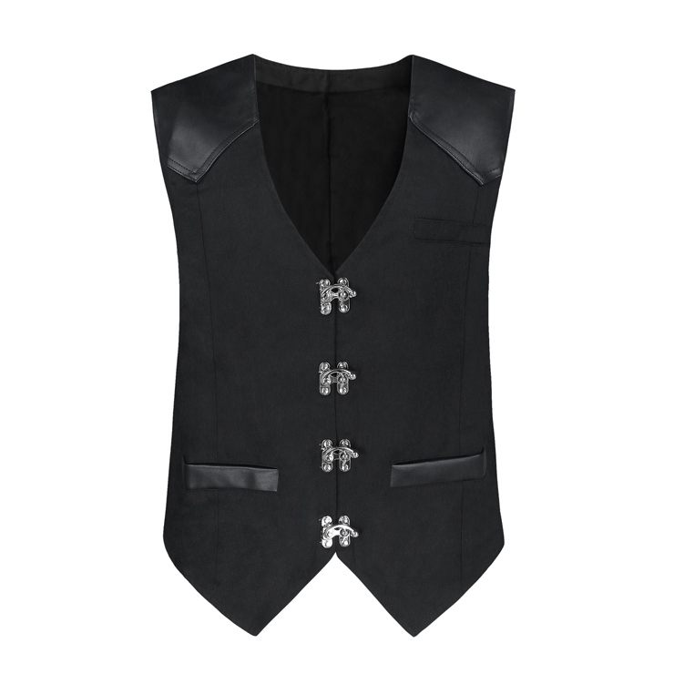 Mens Steampunk Faux Leather Waistcoat Buckles V Neck Party Vest N19047