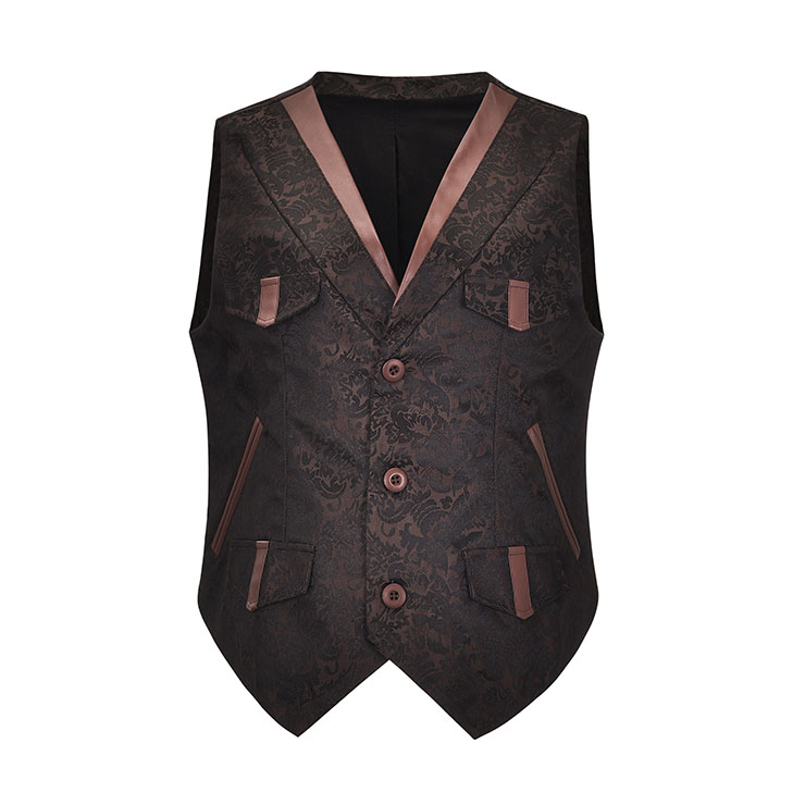 Mens Steampunk Brown Brocade Waistcoat Buttons V Neck Party Vest N21040