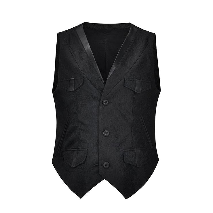Mens Steampunk Black Brocade Waistcoat Buttons V Neck Party Vest N21041