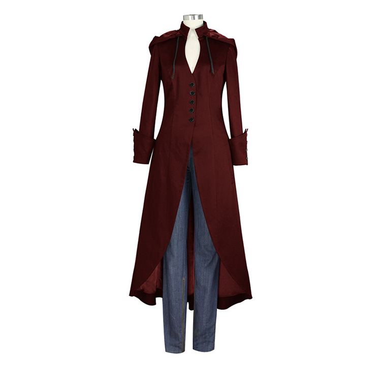 Victorian Gothic Vampire Frock Coat Medieval Renaissance Hoods Lace-up Costume N19982