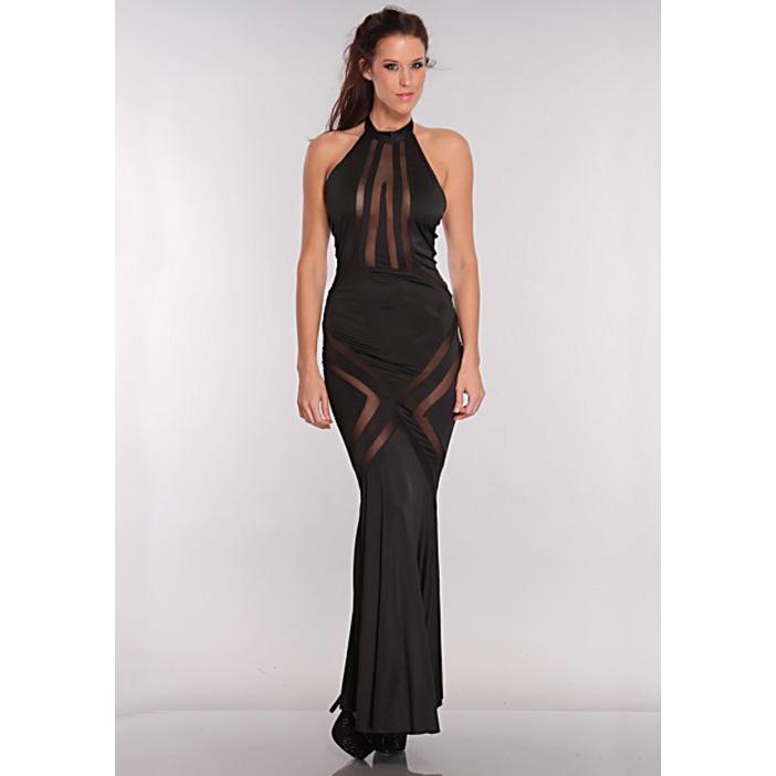 Mesh Cut Out Maxi Dress Black N5900