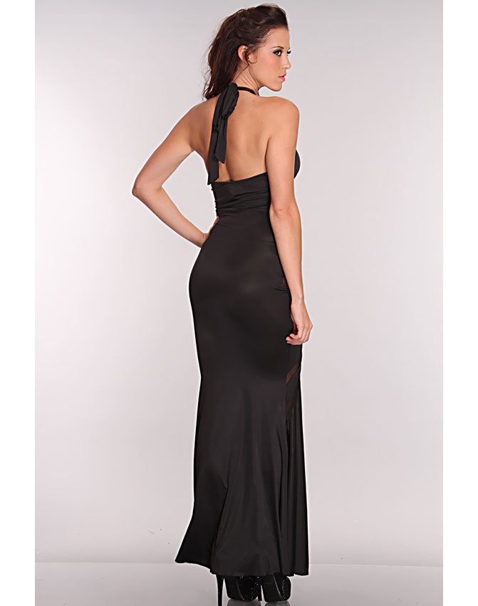 Mesh Cut Out Maxi Dress, Maxi Dress Black, halter neckline Maxi Dress, #N5900